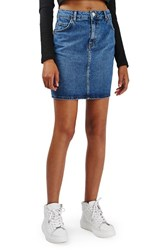 Topshop Women's Moto High Rise Denim Skirt Mid Denim