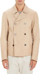 Jil Sander Leather Double Breasted Peacoat Nude Size 50 Eu