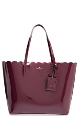 Kate Spade New York 'Lily Avenue Patent Carrigan' Leather Tote Brown Mahogany Radish