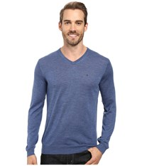 Calvin Klein Merino Moon And Tipped V Neck Sweater Shuttle Men's Sweater Blue
