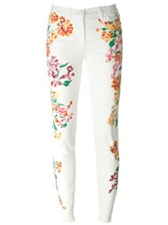 Versace Painted Flower Print Jeans White