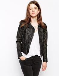 Doma Leather Biker Jacket With Oversized Collar Black