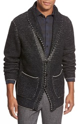 Billy Reid Button Front Shawl Cardigan Black Grey