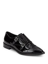 Aquatalia By Marvin K Harlow Point Toe Patent Leather Monk Strap Shoes Black