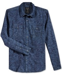Guess Men's Long Sleeve Batik Shirt Avalon Chambray