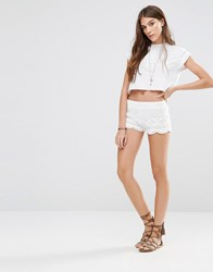 Pull And Bear Pullandbear Crochet Short White