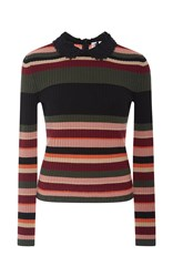 Red Valentino Striped Knit Sweater Pink
