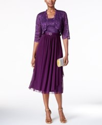 R And M Richards Petite Belted Glitter Lace Dress Jacket Purple