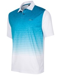 Greg Norman For Tasso Elba Men's Heather Ombre Stripe Performance Polo Only At Macy's Bright White