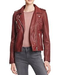 Doma Leather Moto Jacket Borgogna