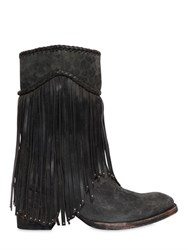 Mexicana 65Mm Printed Fringed Suede Boots