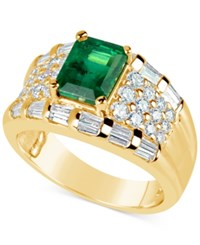 Macy's Emerald 1 2 3 Ct. T.W. And Diamond 1 1 6 Ct. T.W. Ring In 14K Gold Green