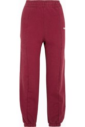 Vetements Embroidered Cotton Blend Jersey Sweatpants Burgundy