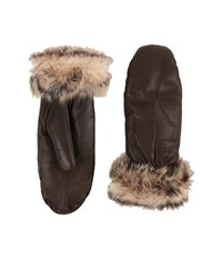 Ugg Leather Mitten W Toscana Trim Brown Extreme Cold Weather Gloves