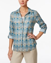 Charter Club Paisley Print Linen Shirt Only At Macy's Dusted Aqua Combo