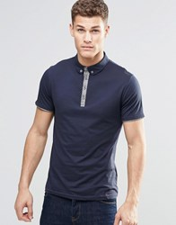 Boss Orange Polo Shirt With Contrast Placket In Navy Navy