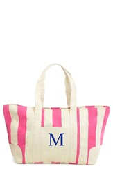 Cathy's Concepts Personalized Stripe Canvas Tote Pink Pink M