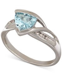 Macy's Aquamarine 1 1 10 Ct. T.W. And Diamond Accent Ring In Sterling Silver Blue