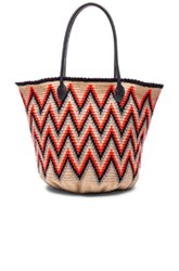 Sophie Anderson Jonas Leather 6 Tote In Abstract Neon Neutrals Orange