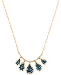 Kenneth Cole New York Gold Tone Woven Blue Bead Teardrop Frontal Necklace