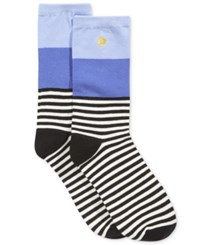 Kate Spade New York Women's Colorblock Striped Crew Socks Lady Blue