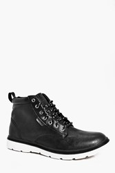Boohoo Hiking Boots With Rubber Sole Black