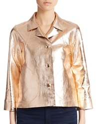 Essentiel Metallic Leather Jacket Gold