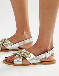 Glamorous Embellished Cross Strap Flat Sandals Silver