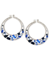 Sis By Simone I Smith Blue And White Crystal Circle Hoop Earrings In Platinum Over Sterlng Silver