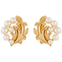 Susan Caplan Vintage 1960S Trifari Gold Plated Faux Pearl Leaf Clip On Earrings Gold
