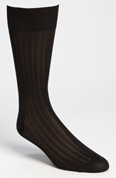 Pantherella Silk Ribbed Mid Calf Formal Socks Online Only Black