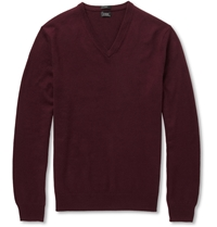 J.Crew V Neck Cashmere Sweater Red