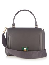 Anya Hindmarch Bathurst Space Invaders Leather Tote Dark Grey