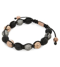 Nialaya Multi Bead Onyx Bracelet Crystal Black Gold