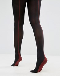 Jonathan Aston Jonathon Opaque Back Seam Tights Black Red