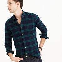 J.Crew Tall Vintage Oxford Shirt In Black Watch Plaid