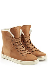Ugg Australia Craft Leather Sneakers With Sheepskin Brown
