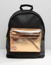 Mi Pac Exclusive Tumbled Backpack With Rose Gold Pocket Black