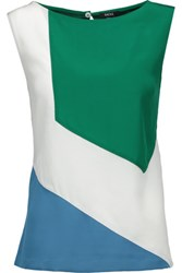 Raoul Dew Color Block Silk Top White