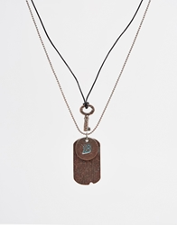 Icon Brand Key And Tag Necklace Gold