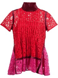 Sacai Floral Lace Pintuck Blouse Red