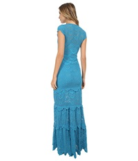 Nightcap Spanish Lace Deep V Gown Turquoise Women's Dress Blue
