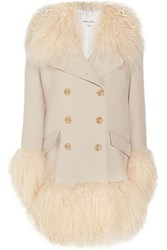 Sonia Rykiel Shearling Trimmed Wool Blend Coat Cream