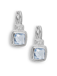 Judith Ripka Natalie Blue Quartz White Sapphire And Sterling Silver Cushion Drop Earrings Silver Blue