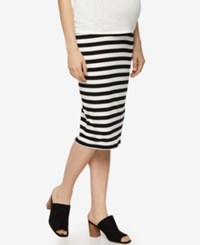 A Pea In The Pod Maternity Striped Pencil Skirt Black White Stripe