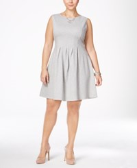 Monteau Trendy Plus Size Pleated A Line Dress Heather Grey