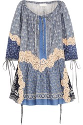 Chloe Printed Lace Appliqued Cotton And Silk Blend Voile Mini Dress Blue