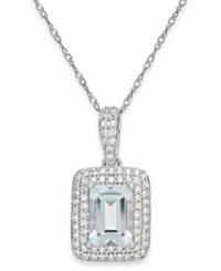 Macy's Aquamarine 9 10 Ct. T.W. And Diamond 1 5 Ct. T.W. Pendant Necklace In 14K White Gold