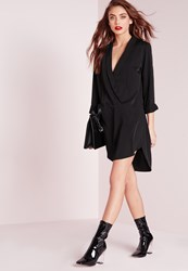 Missguided Long Sleeve Wrap Front Shirt Dress Black Black