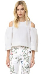 Monique Lhuillier Open Shoulder Top Silk White